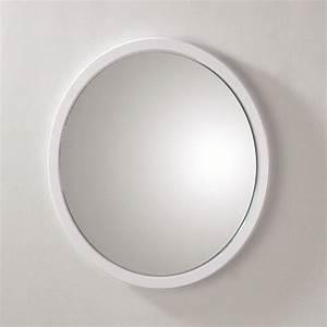 Miroir Rond Salle De Bain : miroir mural rond syla blanc achat vente miroir pvc et ~ Nature-et-papiers.com Idées de Décoration