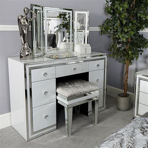 glass vanity table merrick white glass mirrored diamante 7 drawer dressing
