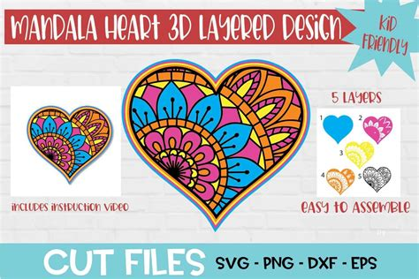 Suitable for apparel, scrapbooks, and many more. Heart Mandala 3D Layered SVG Design