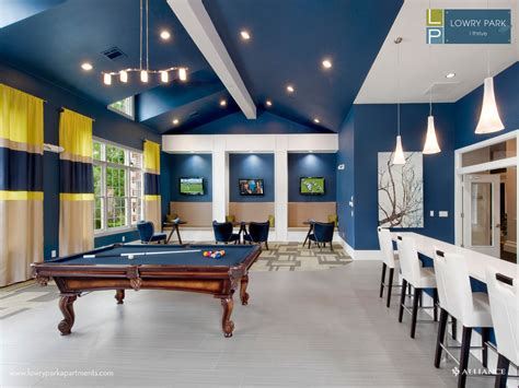 clubhouse with billiards table at lowry park apartments in denver co beautiful blue paint
