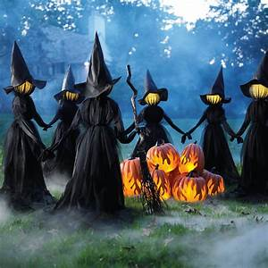 Creepy, Illuminated, Halloween, Yard, Witches