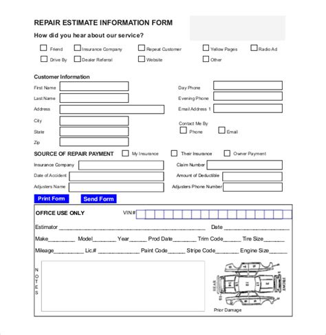 auto repair estimate template excel charlotte clergy