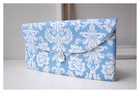 shabby chic blue shabby chic clutch bridesmaid gift bridesmaid clutch blue white wedding favor shabby chic