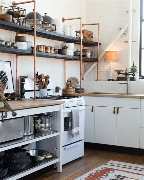 Rustic Kitchen Design with Copper Pipe Shelving