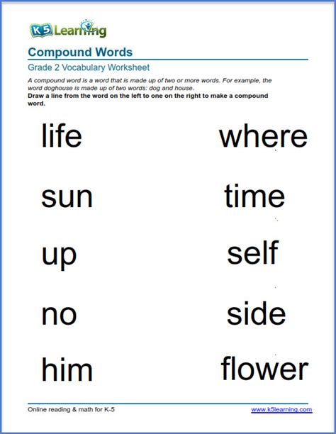 grade 2 vocabulary worksheet compound words k5 learning