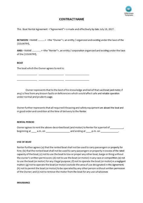 boat rental agreement template templates
