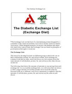 Diabetic Food Exchange List Chart