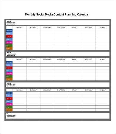 social media calendar templates  sample