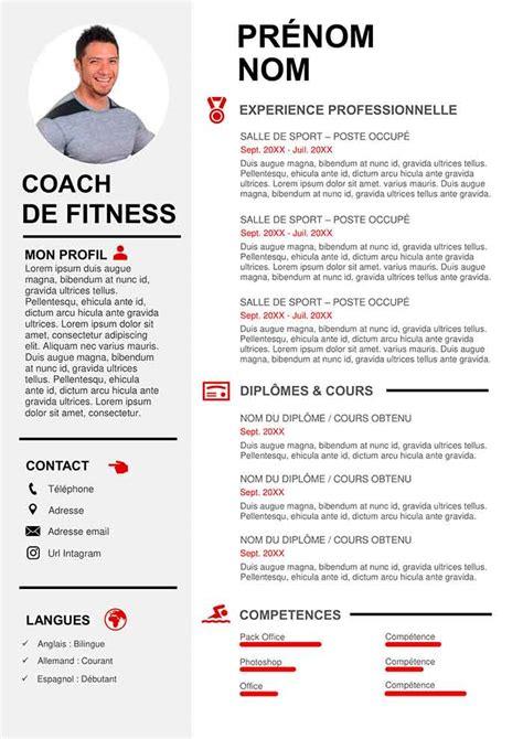 Type De Cv Professionnel by Modele Lettre De Motivation Coach Sportif Awesome Exemple