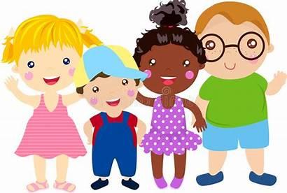 Fun Having Enfants Groupe Jonge Geitjes Cartoon