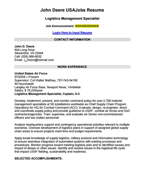 Federal Resumes Templates by Federal Resume Template 10 Free Sles Exles