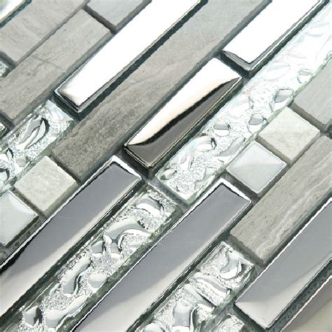 silver glass tile backsplash kitchen brick pattern