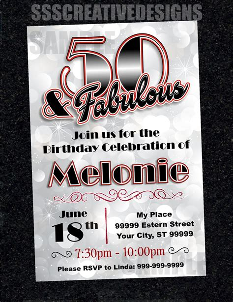 50th Birthday Invitation Card Turning 50 Printable Digital