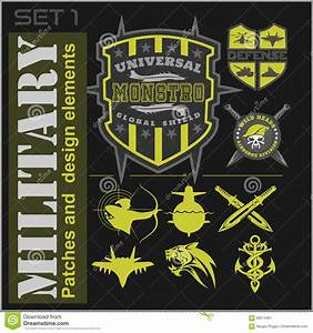 set of military patches logos badges and design elements With military patch template