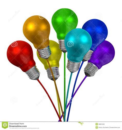 different color lights bouquet of many colored light bulbs on wires of different