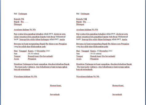Contoh Penulisan Udangan Yang Tepat by Begini Contoh Surat Undangan Pengajian Keluarga Yang Benar