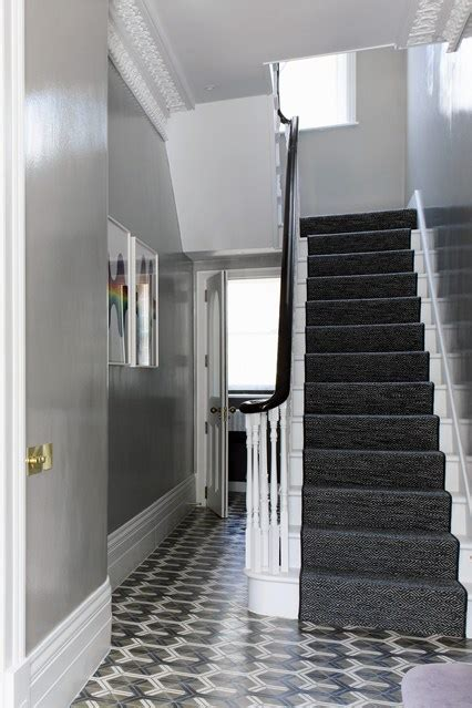 grey hallway with tile flooring hallway ideas