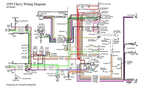 Wiring Diagram 68 Chevy C10 by 55 Chevy Color Wiring Diagram 1955 Chevrolet