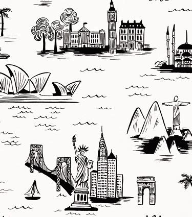 city toile white wallpaper rifle paper  art