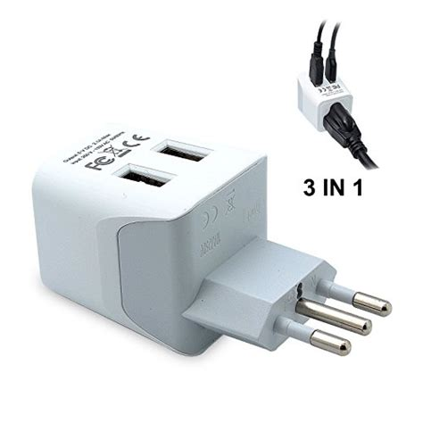 l socket adapter ceptics usa to italy travel adapter with dual usb