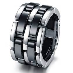 black titanium mens wedding bands fashion stainless steel bands foldable chain mens