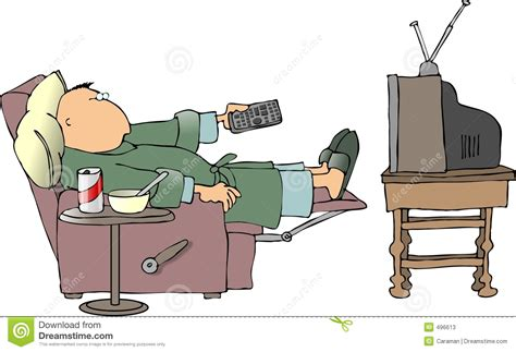 Sick Man Watching Tv Stock Illustration. Image Of Chair