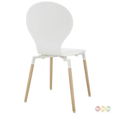 path stylish contemporary wood dining side chair white