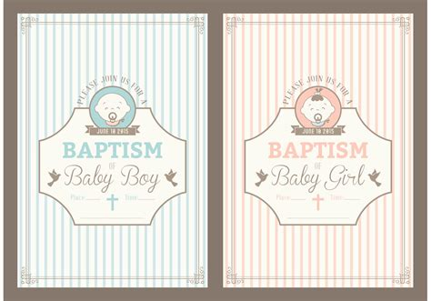 retro christening invitation vector cards