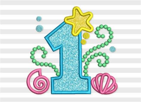 Cute Mermaid Birthday Number 1 Applique Embroidery Design
