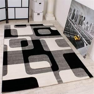 Schwarz Weißer Teppich : designer teppich in grau schwarz weiss retro design top qualit t zum top preis gr sse 160x220 ~ Orissabook.com Haus und Dekorationen