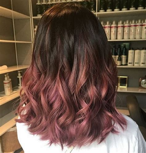 balayage hair color   dark brown  reddish hue