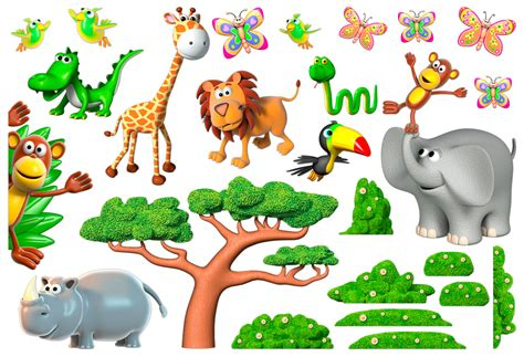 chambre africaine vinilo infantil kit animales de la selva africana 2