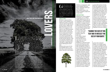 dark trees magazine layout  indesign template