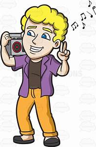 A Man Listening To A Jam On The Radio Cartoon Clipart ...