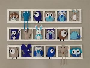 Cadre Décoratif Mural : deco murale pour la chambre de b b cadre mural figurines en feutrine bleu et beige cadeau de ~ Teatrodelosmanantiales.com Idées de Décoration
