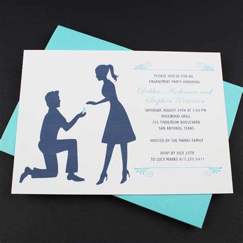 engagement party invitation template silhouette couple