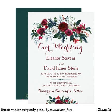 Rustic winter burgundy pine green floral wedding