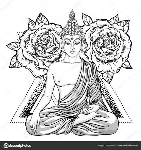 Boeddha Kleurplaten Voor Volwassenen boeddha zittend sierlijke roze bloem esoterische