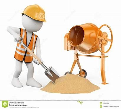 Concrete Construction Cement Worker 3d Background Mixer
