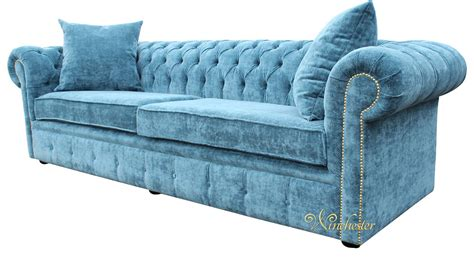 chesterfield sofa velvet fabric chesterfield 4 seater settee elegance teal velvet fabric