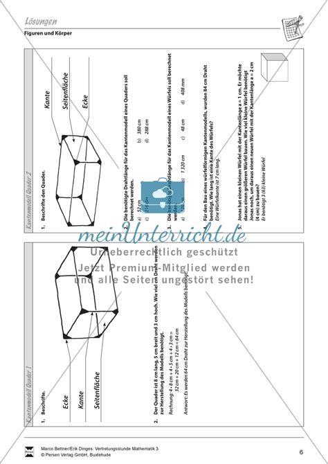 raumdiagonale quader berechnen  rfel und quader formeln