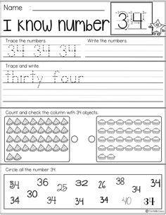 number practice  images kindergarten freebies
