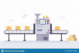 Technology And Packing Concept In Flat Style  Industrial Machine Vector Illustration  Stock