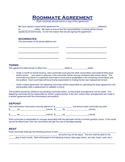 roommate agreement template best photos of roommate agreement template roommate agreement contract template sle