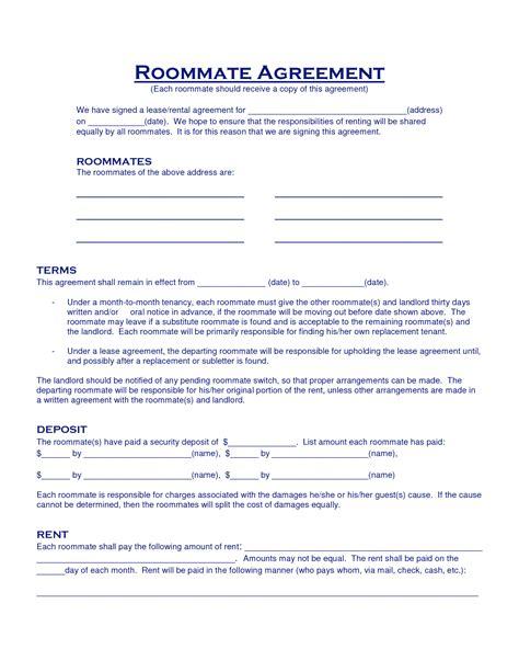 Roommate Agreement Template Roommate Agreement Template E Commercewordpress