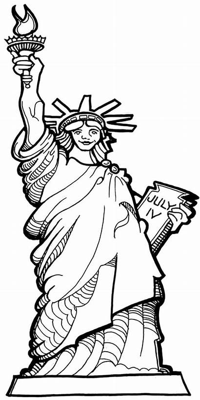 Coloring Statue Liberty Pages July 4th Drawing