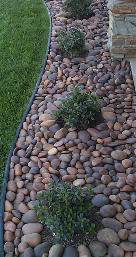 rock river landscape grass bark much usually another places want dont landscaping rocks stones yard front mulch around stone garden