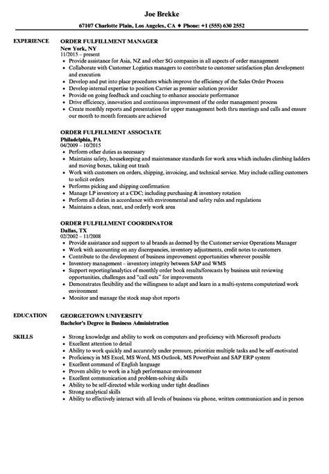Order Processing Resume by Order Fulfillment Resume Sles Velvet