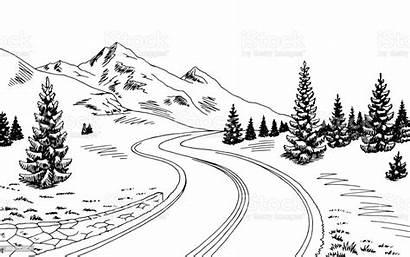 Mountain Road Landscape Sketch Vector Illustration Graphic