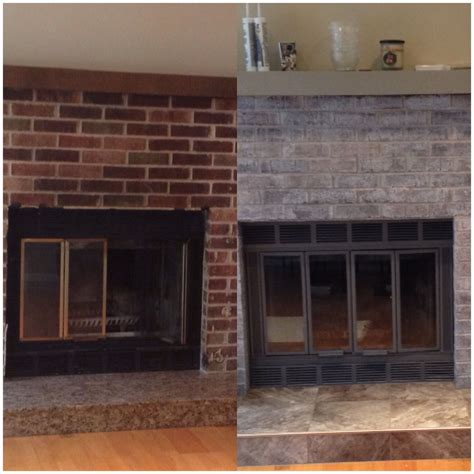 Dyi Fireplace Make Over I Paint Washed The Brick With A